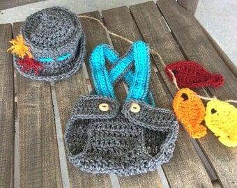 Crochet fisherman newborn outfit, baby fisherman outfit, fisherman's outfit, baby fishermans photo prop, newborn crochet outfit.