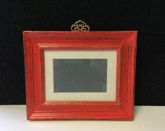 "Oriental inspired frame, Rustic Red Orange timber frame, 6 X 4"" photo frame, distressed ORANGE / WATERMELON frame,red picture frame"