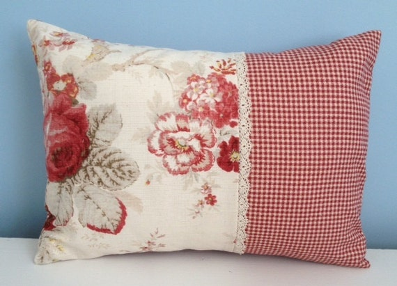 Shabby Chic Lumbar Pillows : Waverly Norfolk Rose pillow cover. Shabby by sterlingstitchery