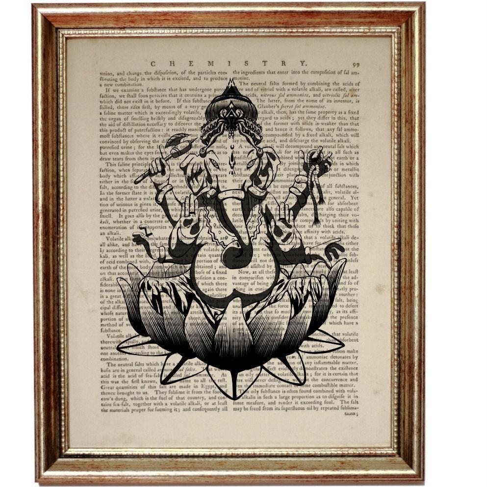 Hindu Poster Art: GANESHA Elephant God Hindu Ganesh Art Print On Vintage By