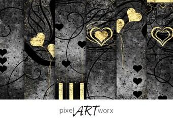 Digital Bookmarks > Printable Download: Hearts & Swirls