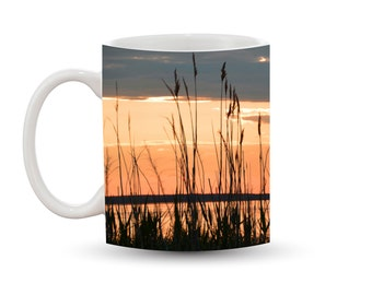 Cape Cod Sunset Mug 11 oz Ceramic Photo Coffee Cup, Sunrise Dawn Orange Beach Grass Ammophila Orange Yellow Sky Waterscape Ocean Nautical