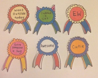 Award stickers - drawn coloured stickers pack of 6