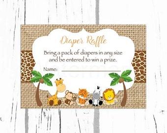 Safari Baby Shower Diaper Raffle Tickets, Jungle Baby Shower Diaper Raffle Insert Card, Instant Download PDF Printable216