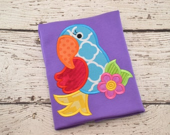 Parrot tropical island summer shirt girl kid toddler baby infant appliqué embroidery personalized custom monogram name