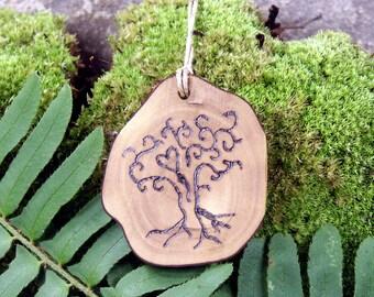 Handmade Rustic Wood Heart Tree Woodburned Pendant