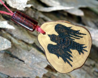 Handmade Raven Woodburned Pendant, Crow, Bird, Spirit Animal Necklace