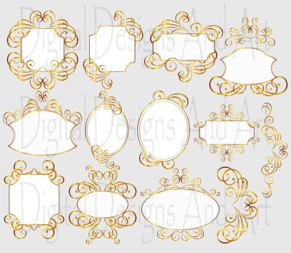 Gold wedding frames, Gold frames, Digital clip Art Frames ...