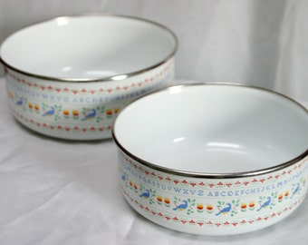 Vintage 2pc Alphabet White Enamel Pots ABC's, Blue Birds, Kitchen Pots, Medium and Large VEW001