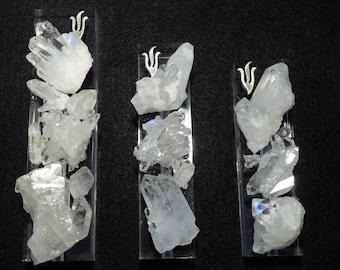 "White Quartz Gemstone Mezuzah Hand Set on Lucite Base - 4-1/2"" long"