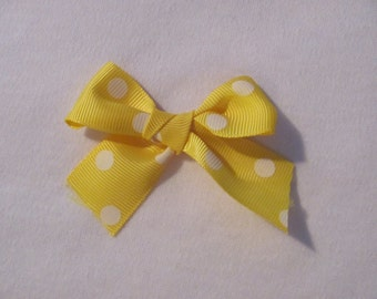 New Yellow with White Polka Dots Dog Puppy Pet Hair Bow Ribbon on Alligator Clip
