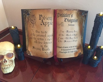Open Face Witches Spell Book with Stand
