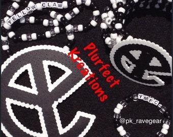 Yellow Claw Kandi Necklace with Cuff Set
