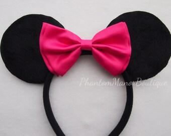 Minnie Mouse Ears - Hot Pink Bow Headband Wedding Fushia Mickey Disney Princess Bridesmaid