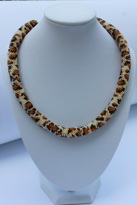 leopard print leopard jewelry set bead crochet necklace
