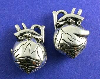 1 pcs - 3 Dimensional Heart Pendant, Anatomically Correct Heart Charm - AS-B39822H-8S