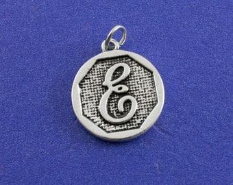 1 pcs-Initial E Charm, E Alphabet Pendant, Antiqued Silver Letter E Coin-As-K85350H-8S