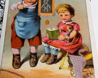 Victorian Trade Card, Children with Toys