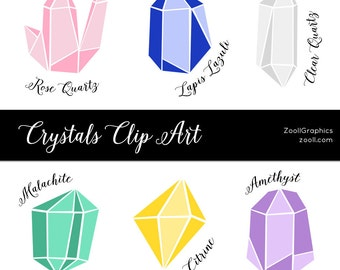 Crystals Clip Art, 6 PNG Files, Transparent Background, Commercial Use INSTANT DOWNLOAD