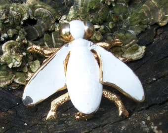 Vintage White Fly Pin/Brooch
