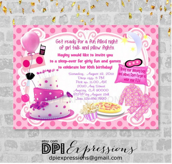 Slumber Party Invitation with amazing invitations template