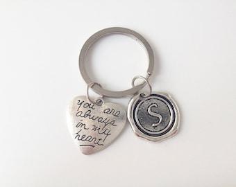 always in my heart keychain,initial key chain
