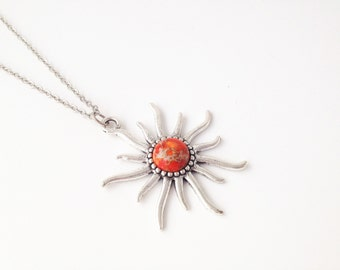 Sunshine Necklace,Sun Face necklace,Sun Necklace,Sun Pendant Necklace,Orange Emperor Stone