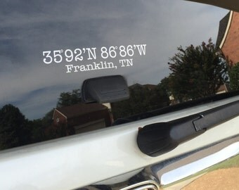 Franklin Tennessee GPS Navigation Coordinates Decal Sticker