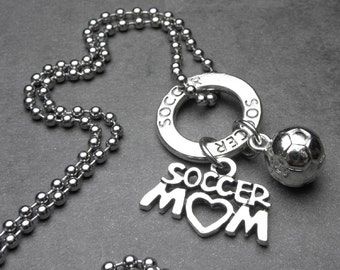Soccer Mom with 3D Soccer Ball Antique Silver Charm Necklace or Key Chain