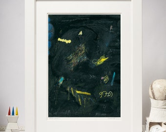 8x11 Giclee Print of Abstract Painting, Black, Yellow, Blue, Contemporary Wall Art, Abstract Expressionist Painting, Fine Art Print A4