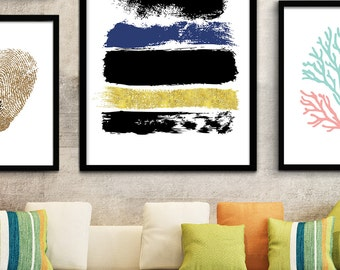 Printable Abstract Art, Navy Blue and Gold Art, Blue Art, Blue Printable Art, Dark Blue Abstract Print, Downloadable Art Minimalist Painting