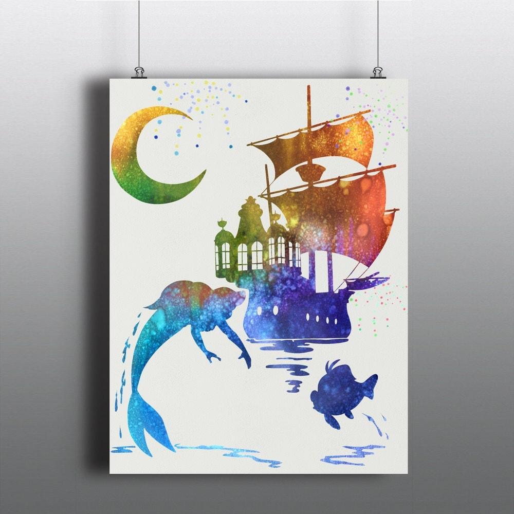 ariel the little mermaid art print poster fairytale