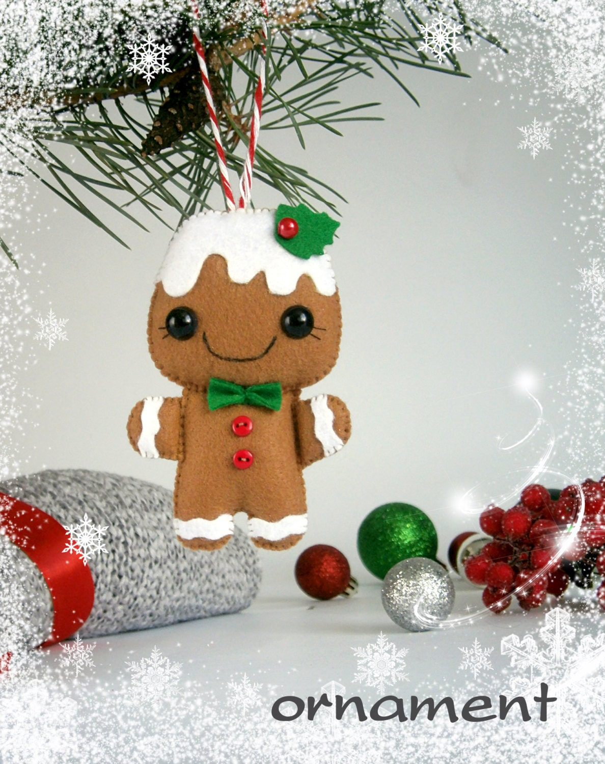 Christmas Ornaments Felt Gingerbread man Christmas by ...