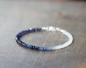Rainbow Moonstone, Iolite & Sapphire Bracelet, Delicate Shaded Blue Sapphire Jewelry, Multi Gemstone Stacking Moonstone Bracelet
