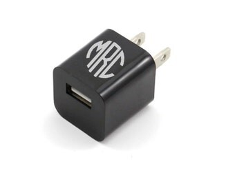 DECAL Personalized Monogram Decal for USB Wall Charger samsung AT&T Sprint Verizon iPhone apple laptop pc car window monogram name custom