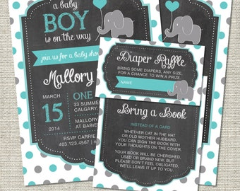 Elephant Baby Shower Invitation, Elephant Invitation, Elephant, Teal, Gray, Polka Dots, Balloon | Printable