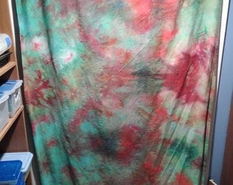 "Curtains - Heliotrope Dreams (100% cotton, hand-dyed, variegated greens & red, 54"" x 96"")"