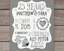 25th Wedding Anniversary Gifts For Parents Uk : Gift, Silver Wedding Anniversary Custom Gift for Husband, Wife, 25th ...