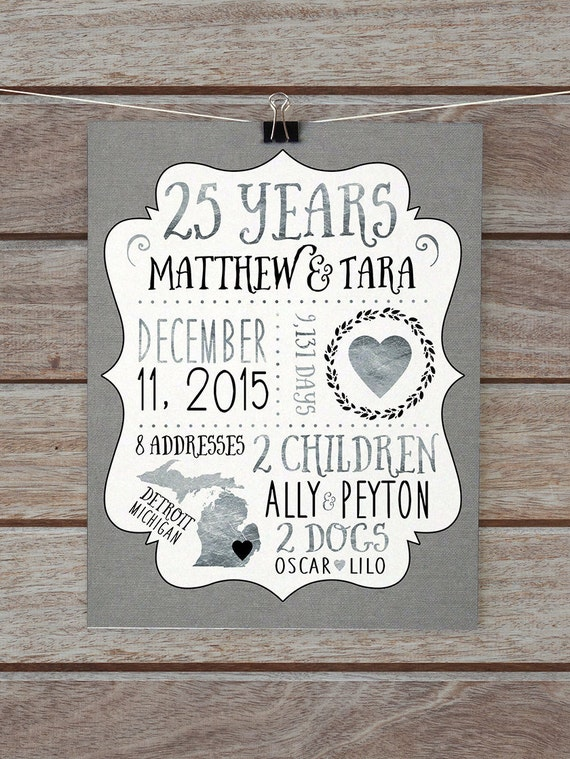 25 Year Anniversary Gift Silver Wedding Anniversary Custom
