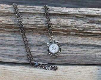 45 Auto Original Primer Antique Silver Pendant Necklace-Bullet Jewelry-45 Auto Necklace with Gunmetal Black 24 Inch Chain-Ready to SHIP