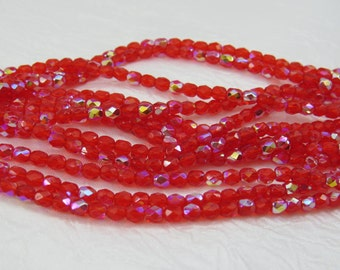 4MM Red AB Faceted Fire Polished Translucent Premium Czech Glass 50 Beads PFP4MM016