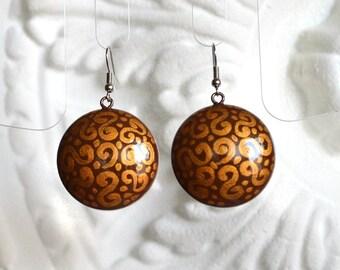 Brown and gold Boho earrings women Gift for her Brown jewelry cute handmade earrings ethnic jewelry folk handpainted earrings wedding brown