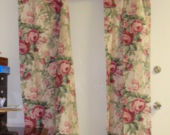 Vintage Curtains with Cabbage Roses/Shabby Chic