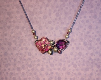 Purple stone and jewel necklace
