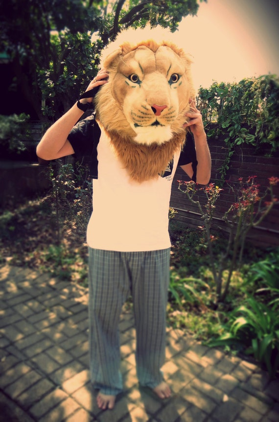 Lion backpack rucksack costume bag realistic feline head - photo#30