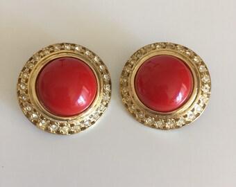 Vintage Valentino Earrings, Vintage Red Valentino Earrings, Vintage Earrings, Round Red Valentino Earrings, Cabochon Rhinestone Earrings
