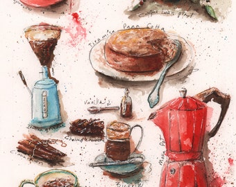 Coffee Theme Decor, Coffee Kitchen Decor, Coffee Wall Decor, Kitchen Coffee Decor Ideas, Housewarming Gift For Coffee Lover, Red Kitchen Art