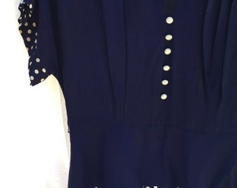 1940's Navy Rayon Peplum Dress LARGE