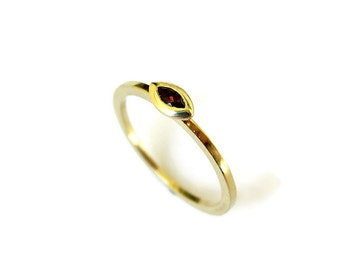 Gemstone Stacking Ring, Tiny 14k Gold Ring with Garnet, Skinny Yellow Gold Ring, for her, Marquise Jewelry