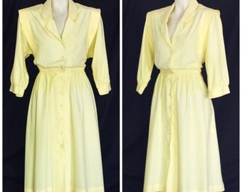 1980s yellow shirt dress with 3/4 length sleeves from Petites by R & K